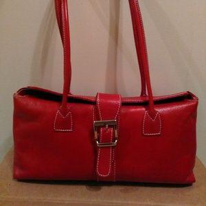 Vera  Pelle Red Leather  Handbag  11X6X4